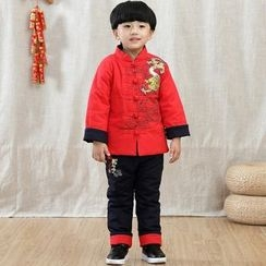Emperial - Kids Set: Frog Button Dragon Embroidered Top + Pants + Hat