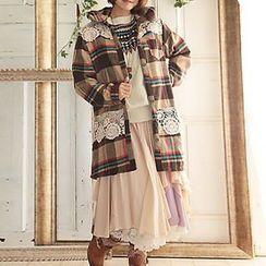Nectarine - Hooded Plaid Tweed Coat