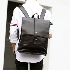 ETONWEAG - Faux Leather Flap Backpack