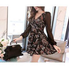 Marlangrouge - Patterned Sheer A-Line Dress
