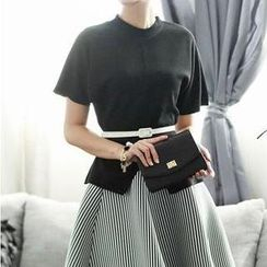 Rainbeam - Set: Short-Sleeve Top + Striped A-Line Skirt