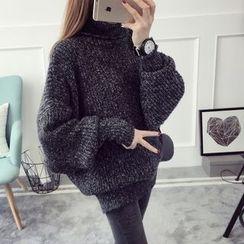 Qimi - Turtleneck Puff-sleeve Knit Top