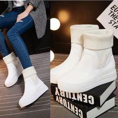 Shoes Galore - Plain Platform Ankle Boots