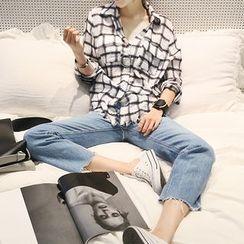 NANING9 - Dual-Pocket Plaid Shirt