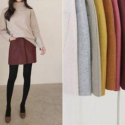 Hello sweety - Dual-Pocket Wool Blend Mini Skirt