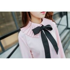 Romantica - Long-Sleeve Paneled Bow-Accent Blouse