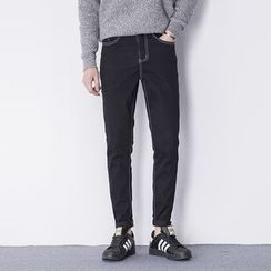 AOBIN - Embroidered Slim-Fit Jeans