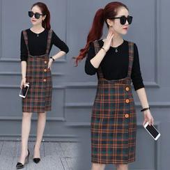 Fenim - Set: Knit Top + Suspender Plaid Skirt