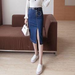 Yohana - Front Slit Denim Midi Skirt