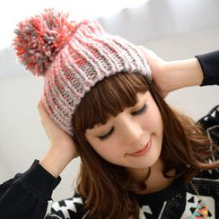 59 Seconds - Color-Block Pompom Beanie