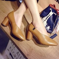 JY Shoes - Pointed Chunky Heel Pumps