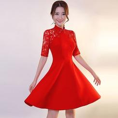 皇家尚品 - 蕾丝拼接短袖中式领A字晚装裙