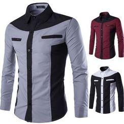 Bay Go Mall - Colour Block Long-Sleeve Shirt