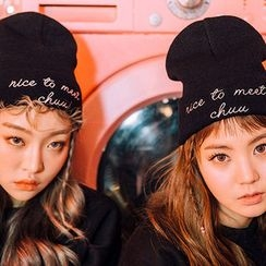 chuu - Lettering-Embroidered Knit Beanie