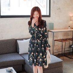 Cherryville - Floral Pattern A-Line Chiffon Dress