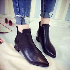 QQ Trend - Chunky Heel Pointed Ankle Boots