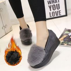 BARCA - Platform Furry Loafers