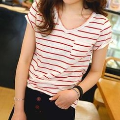 REDOPIN - V-Neck Short-Sleeve Striped T-Shirt