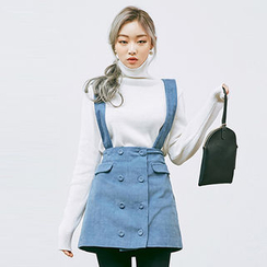 chuu - Suspender Buttoned Corduroy A-Line Mini Skirt