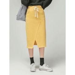 LOLOten - Drawstring-Waist Cotton Midi Pencil Skirt