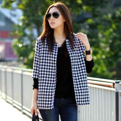 SO Central - Elbow-Sleeve Houndstooth Open-Front Jacket