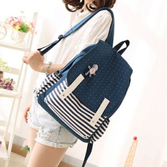 Canvas Love - Dotted Striped Panel Canvas Backpack