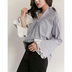 UPTOWNHOLIC - Bell-Sleeve Striped Shirt