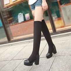 Pastel Pairs - Platform Over The Knee Heel Boots