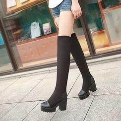 Pastel Pairs - 厚底過膝粗跟靴