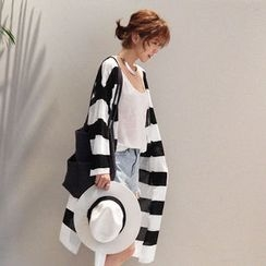 NANING9 - Stripe Open-Front Cardigan