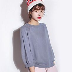 Meimei - 纯色七分袖毛线衫
