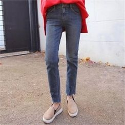 QNIGIRLS - Fray-Hem Straight-Cut Jeans