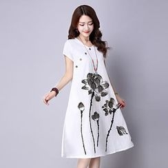 Hummingbird - Flower Printed Short Sleeve Midi Dress