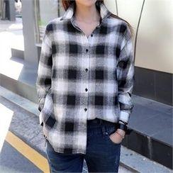 CHICFOX - Drop-Shoulder Plaid Cotton Shirt