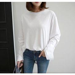 Miamasvin - Slit-Cuff Loose-Fit T-Shirt