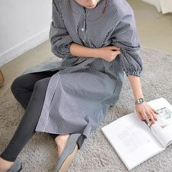 JUSTONE - Mandarin-Collar Stripe Shirtdress