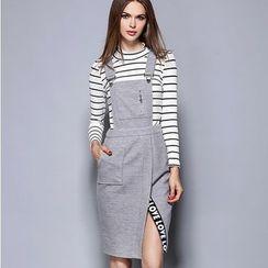 Rosesong - Set: Striped Long-Sleeve T-Shirt + Slit Pinafore Dress