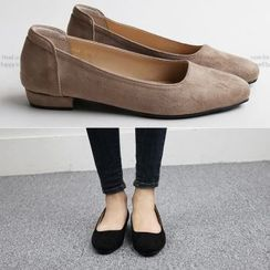 Reneve - Square-Toe Faux-Suede Flats