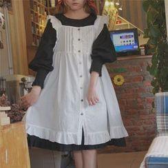 QZ Lady - Long-Sleeve Ruffle Trim A-line Dress