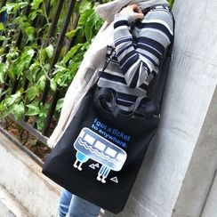 Aoba - Printed Canvas Shoulder Bag
