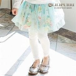 LILIPURRI - Girls Inset Rosette Tulle Skirt Leggings