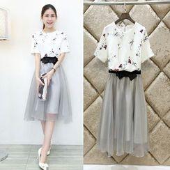 wisperia - Set: Floral Print Short-Sleeve Top + Bow Midi Skirt