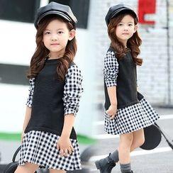 Pegasus - Kids Mock Two-piece Gingham Long-Sleeve Dress