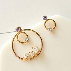 Sunsped - Rhinestone Circle Non-Matching Earrings