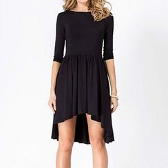 Rebecca - Elbow-Sleeve Pleated Dress