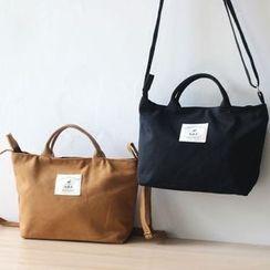 Ms Bean - 貼花帆布手提包