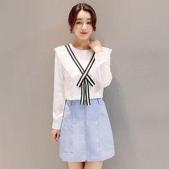 Maine - 套裝:雪紡襯衫 + A字裙