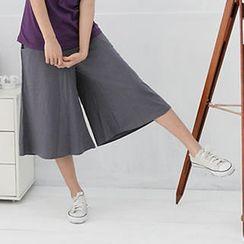 RingBear - 彈性寬褲頭口袋素面中腰七分褲裙