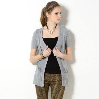 59 Seconds - Mock Two-Piece Short-Sleeved Cardigan