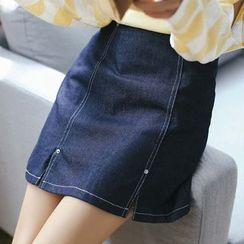 Everies - Slit Denim Skirt